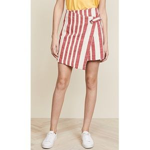 FREE PEOPLE It's a Wrap Red White Striped Skirt